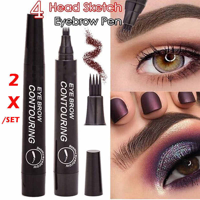 2pc New Eyebrow-Pencil Liquid Tint-Pen Tattoo Microblading Fine-Sketch 4-Head Waterproof Liquid Eye Brow 5-Colors