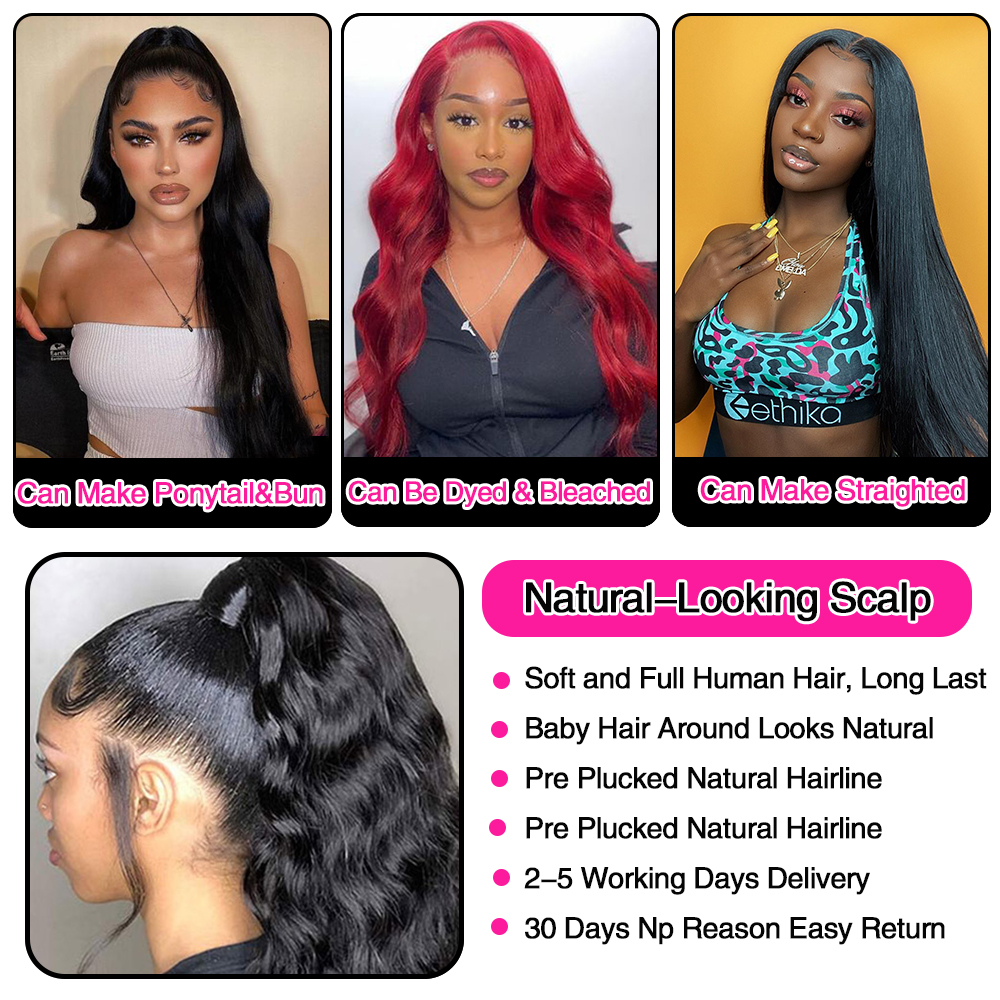 360 Lace Frontal Wig Brazilian Body Wave HD Transparent 13x6 Lace Front Human Hair Wigs for Women 30inch 5