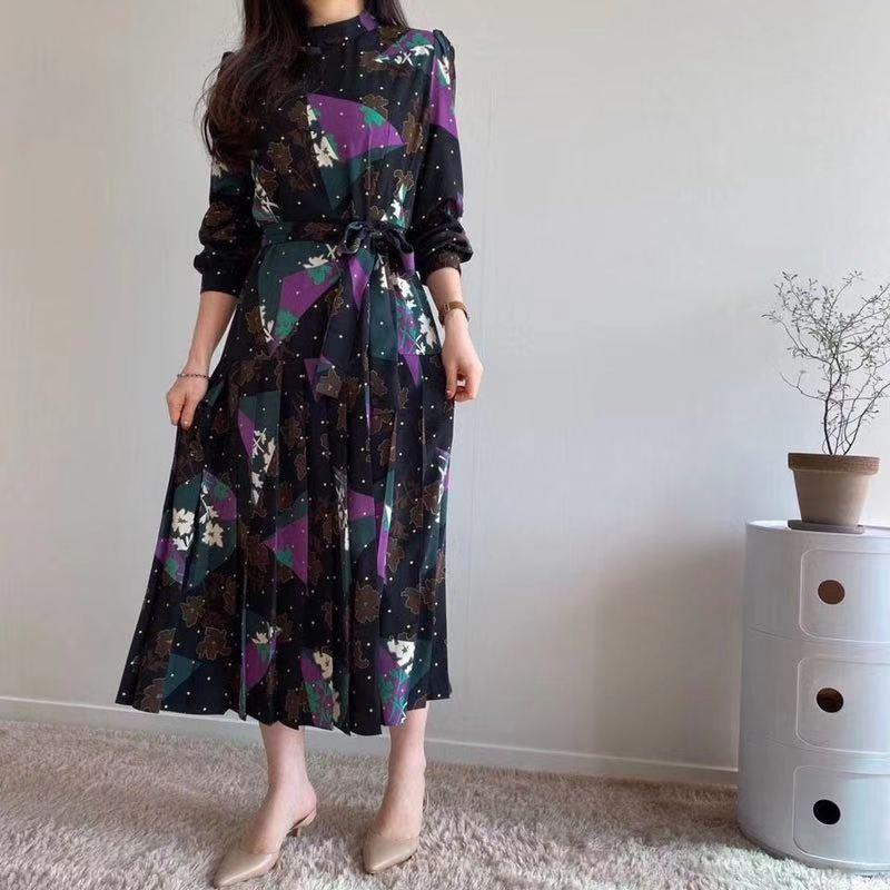 Elegant O-neck Printed Women Dress Long Sleeve A-line Female  Dress 2020 Vintage Women Midi Vestidos