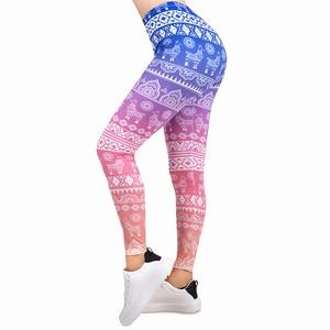 Image 1 - ホット販売女性レギンス勾配印刷レギンススリム高弾性leginsフィットネスレギンス女性パンツ
