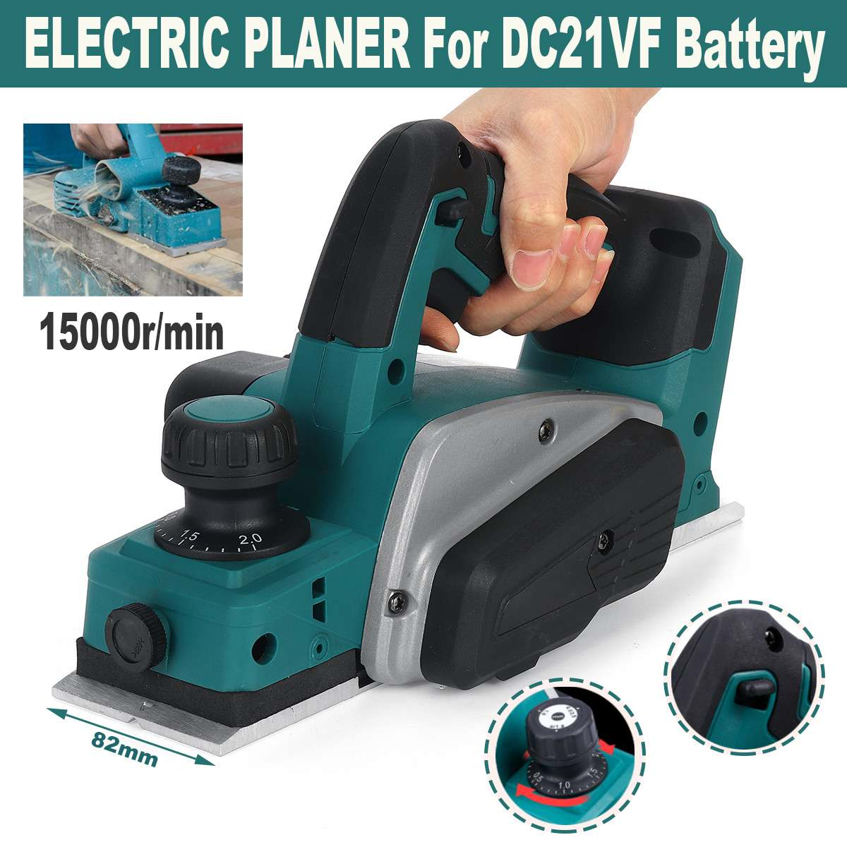 18V 15000rpm Rechargeable Electric Planer Cordless Handheld for Makita 18V Battery Wood Cutting Tool with Wrench Drillpro Tool