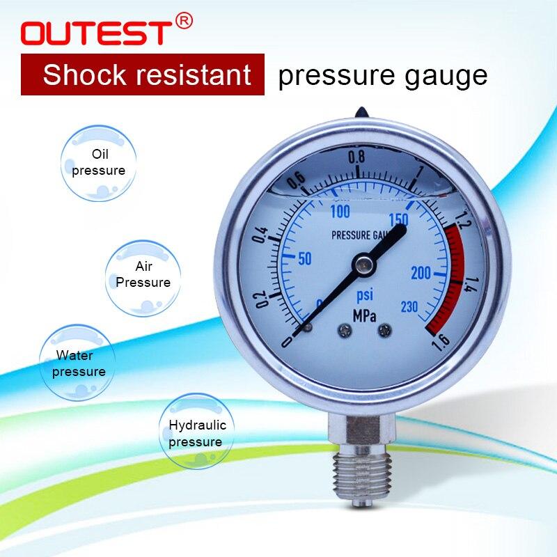 Outest medidor de pressão hidráulico de aço inoxidável radial manômetro 0-60mpa óleo de ar água rosca g 1/4 (13mm)