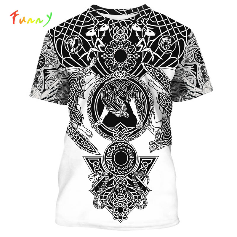 Viking Totem Print Girls Boys Tshirts 2020 Summer Indian Style Child T-shirt for Girl Clothes Tops Short Sleeve Tee Shirt Garcon image