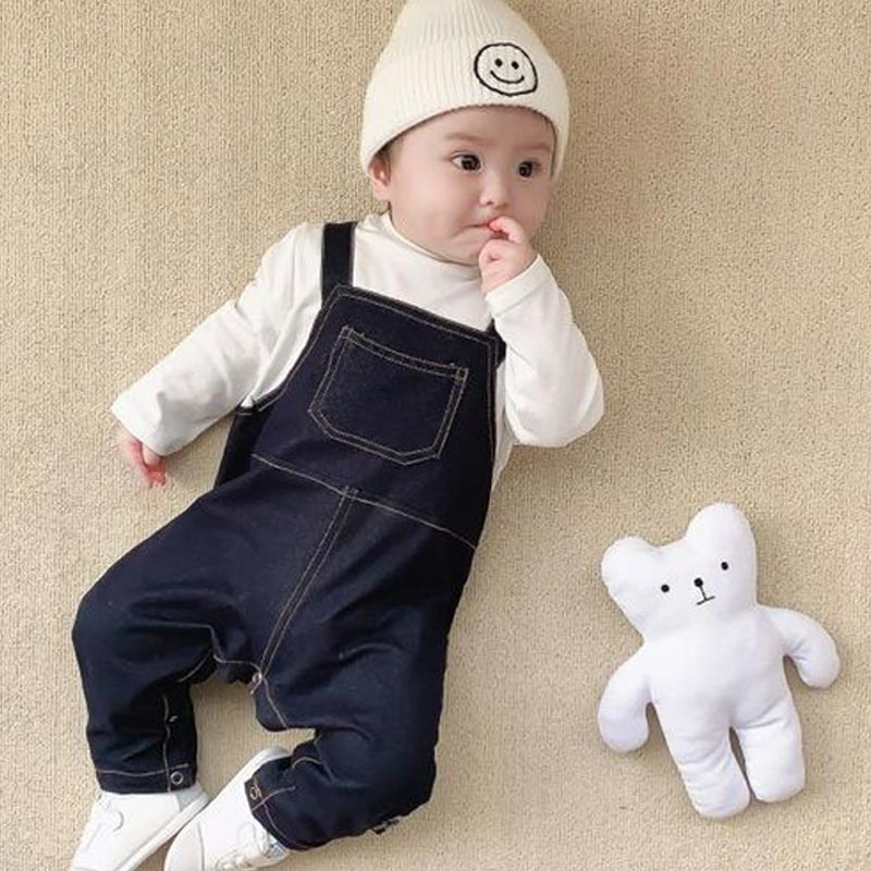 Spring Newborn Baby Romper Denim Baby Clothes Girl Rompers Cotton Long Sleeve O-neck False Two Infant Boys Girs Romper