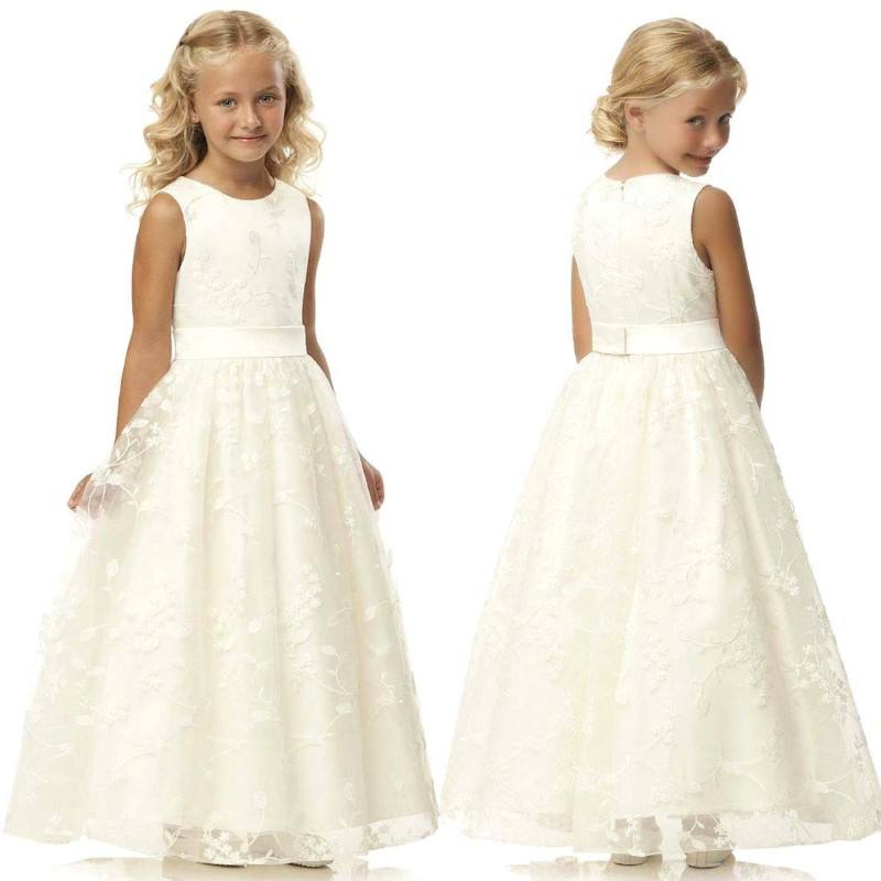 Lace Flower Girl Dresses 2019 A Line Tulle Communion Gown White Ivory Little Bride Dress Sleeveless Wedding Party Dress