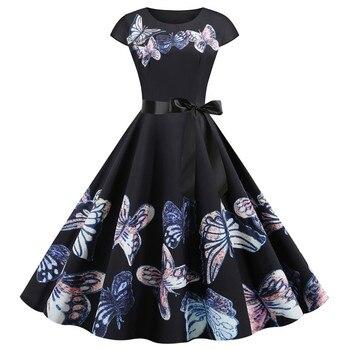 Dress Women Summer Sundress 2020 Vintage Audrey Hepburn Style 50s Short Sleeve Floral Printed Zipper Party Slim Elegant Dresses