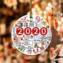 2020 1pc lembrando ornamento ano de quarentena ornamento 2020 ornamento de natal 2020 ornamentos personalizar ornamentos de gota de árvore