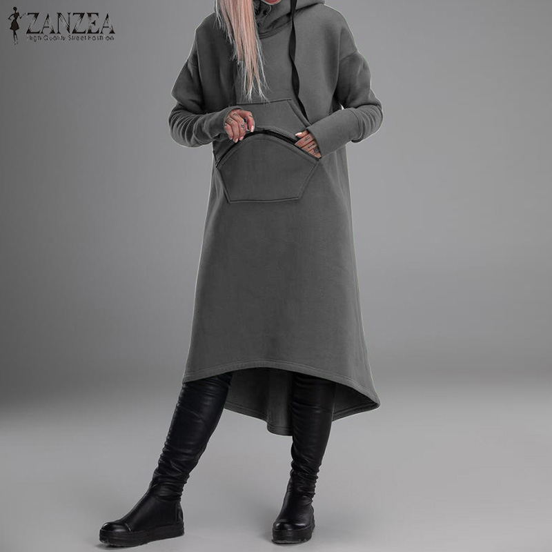 2020 Autumn Solid Hooded Sweatshirts ZANZEA Women Casual Hoodies Pullover Winter Long Sleeve Pockets Sweatshirt Female Vestidos