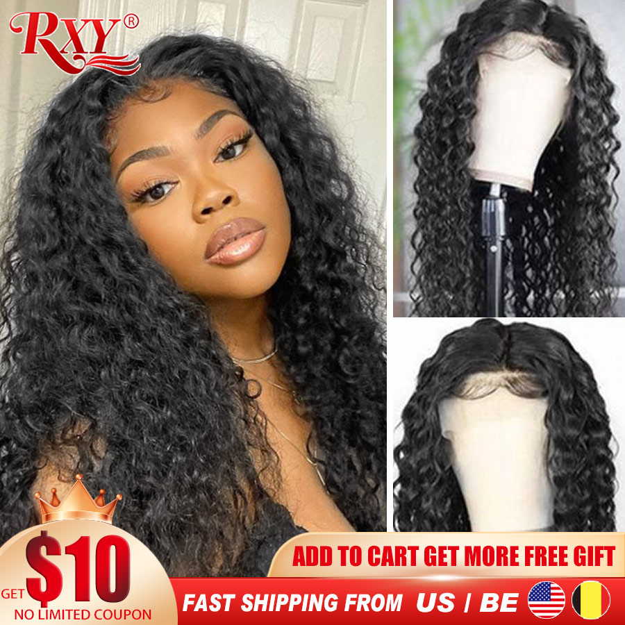 Transparent Lace Wigs Part Human-Hair-Wigs Water-Wave-Wig Wavy Curly Deep-T RXY Wet And