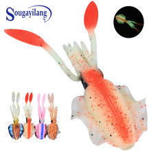 Sougayilang 1 PC 155 Mm 19.7G Lembut Umpan Pancing Luminous Squid JIG Memancing Tuna Umpan Gurita Rok Memancing Di Laut wobbler Umpan Umpan(China)