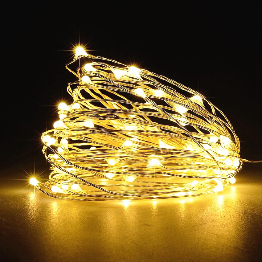 10 M 100 Lamp Copper Wire Lamp String Holiday Decorative Lights LED Christmas Tree Teng Deng LED 12V Lighting Chain Silver Wire