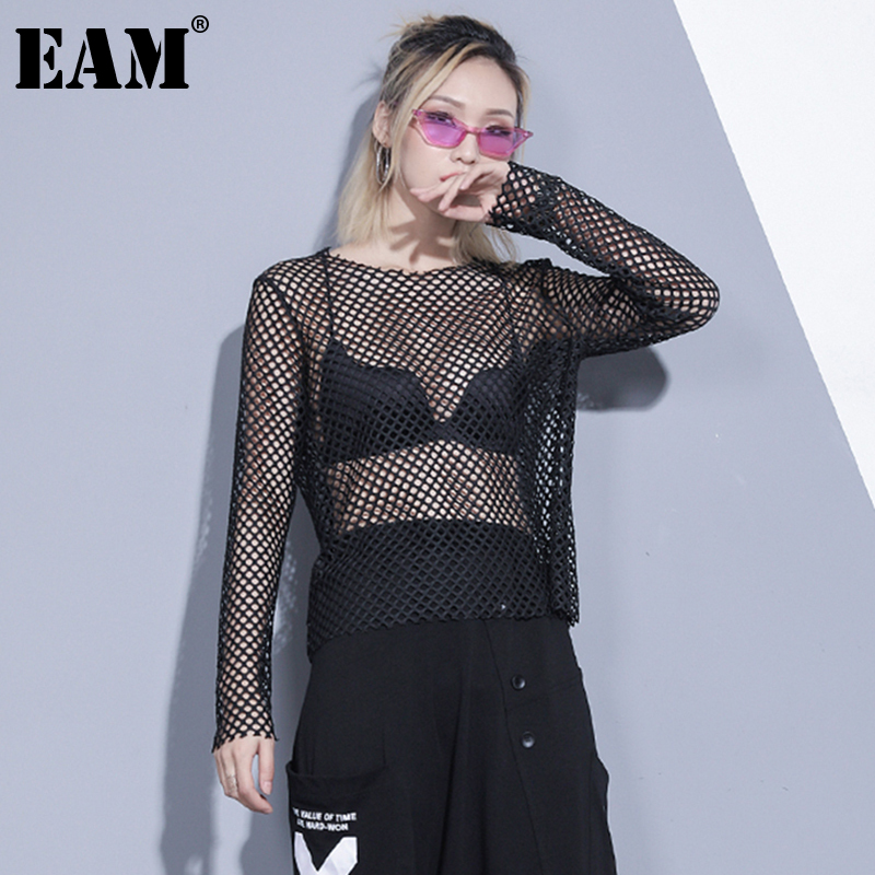 [EAM] Women Black Brief Mesh Perspective Big Size T-shirt New Round Neck Long Sleeve  Fashion Tide  Spring Autumn 2020 1DC348 1