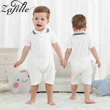 ZAFILLE Cotton Baby Romper Short Sleeve Baby Boy Clothes 2020 New Summer Newborn Infant Jumpsuit Solid Striped Boys Clothing