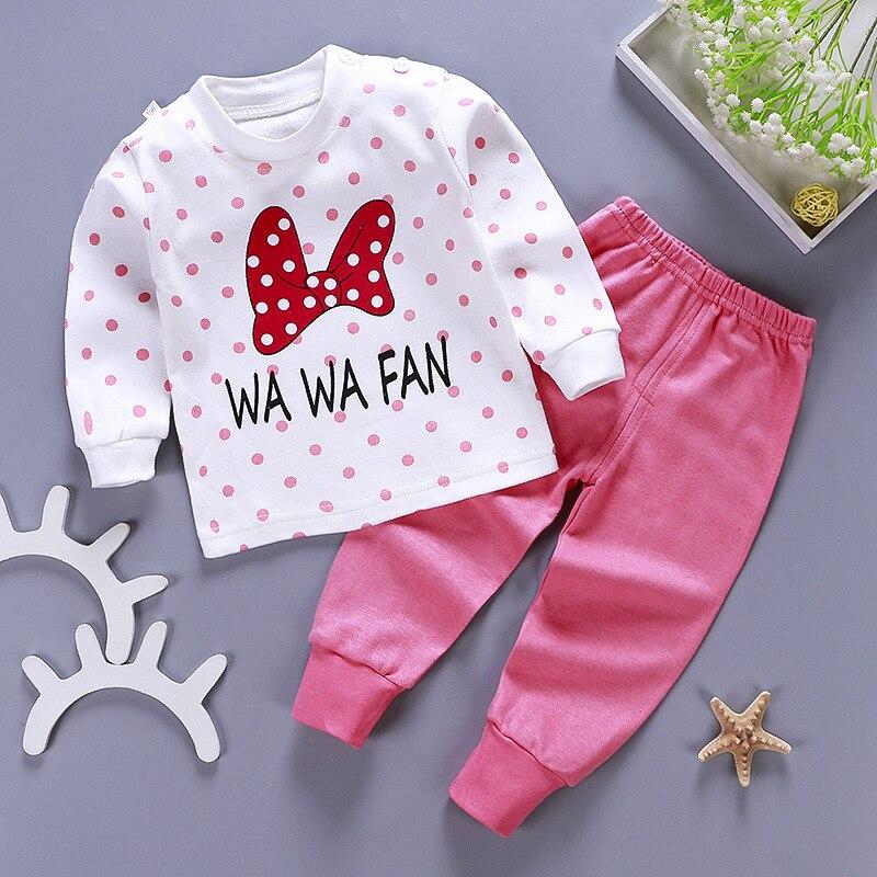 2020 New Baby Kids Pajamas Sets Cotton Long Sleeved Tshirt+pant Cartoon Girl Clothing Autumn 2pcs Sleepwear Suit Pyjama Trousers 4