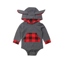 0-24M Newborn Baby Boy Romper Christmas Red Plaid Jumpsuit Long Sleeve Autumn Winter Costumes Xmas Clothes