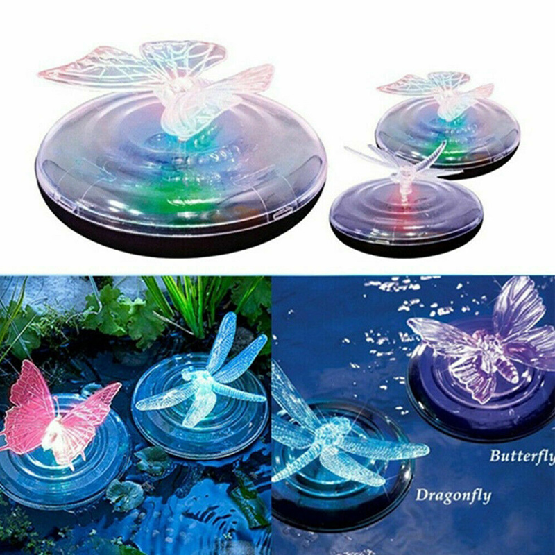 Newest Solar LED Float Lamp RGB Color Change Butterfly Dragonfly Outdoor Pond Water Light