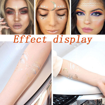 Christmas Halloween Gold Silver Face Tattoo Waterproof Bronzing Freckles Make Up  Flash Tattoo Sticker Eye Decals Tribe Party 1