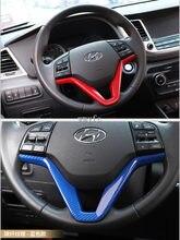 Para Hyundai Tucson 3th 2015 2016 2017 2018 LHD 19 Lantejoulas Volante Do Carro Tampa Decoração de Interiores Guarnição ABS Chrome accessori