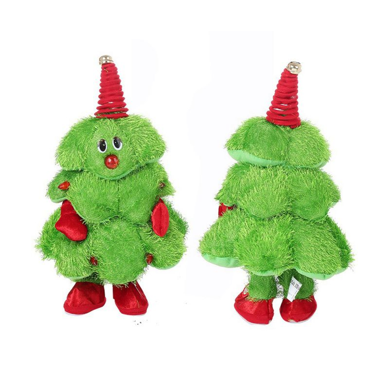 Plush 2019 Christmas LED Singing Dancing Tree Toy Musical Light Up Figure Xmas Tree Electric Toy Kids Toys New Year Gifts