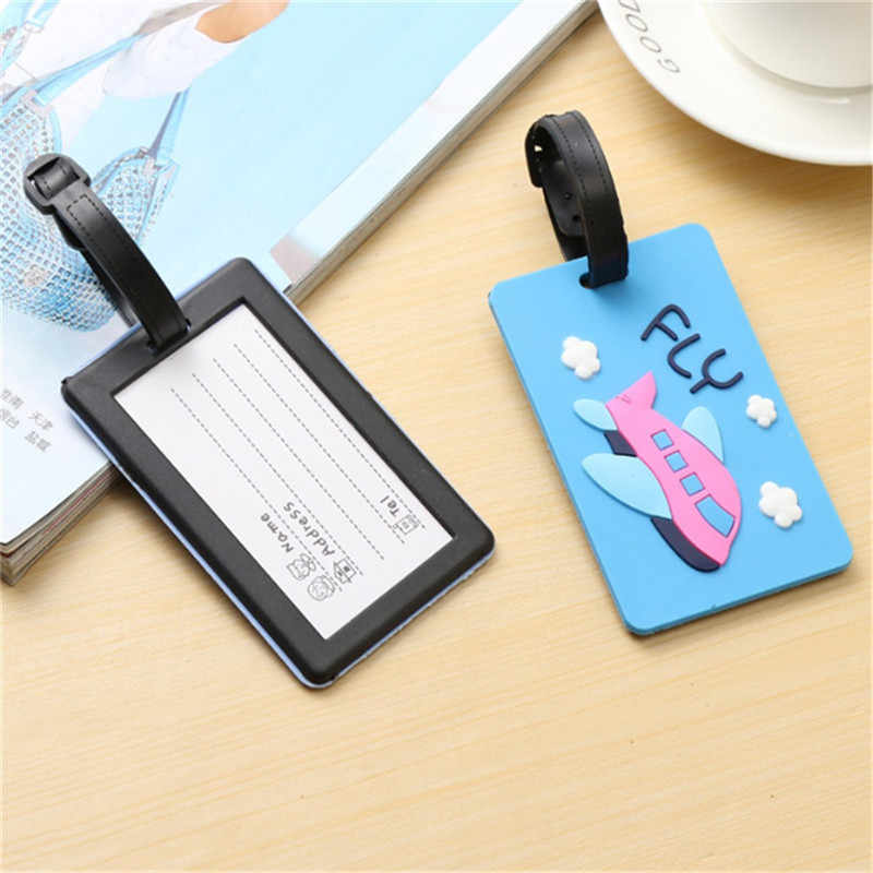 Kawaii กระเป๋าเดินทางกระเป๋าเดินทางการ์ตูน ID ที่อยู่ผู้ถือป้ายป้ายสัมภาระ Silica Ge Identifier แบบพกพาอุปกรณ์เสริม