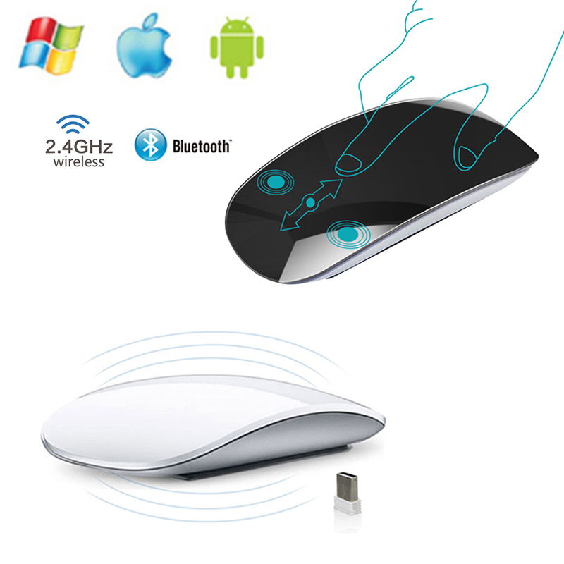 Apple Style Magic Touch Bluetooth 3.0 Wireless Mouse Ergonomic Slim Arc Mice USB 2.4G Wireless Gaming Mouse For Laptop Mac PC