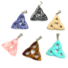 Charms Natural Stone Pendants Crystal Agates Necklace Pendant for Jewelry Making Good Quality Size 34mmx36mm