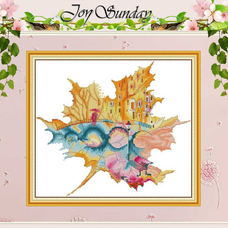 City In Maple Leaf Counted Cross Stitch 11CT 14CT Cross Stitch Sets Wholesale Chinese Cross-stitch Kits Embroidery Needlework