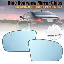 New Left/Right Blue Anti Glare Rearview Mirror Glass for Benz C & E Class W211 W203 Sedan E320 E350 E500 C230 C240 C280 C320(China)