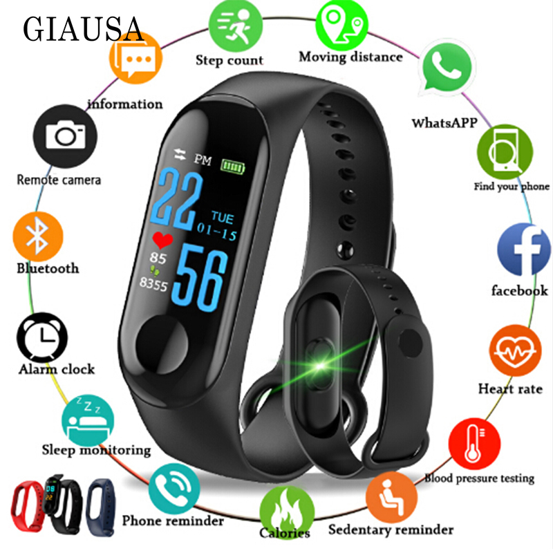 2019 смарт часы M3 Smart Watch Heart Rate Monitor Fitness Tracker Smartwatch Color Screen Blood Pressure Pedomater PK Y5 115PLUS