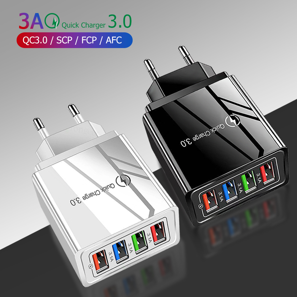 Quick Charge 4.0 USB Charger Universal 4 Port Fast Charging EU US Plug Power Adapter For Samsung S10 iPhone 12 11 Tablet Charge