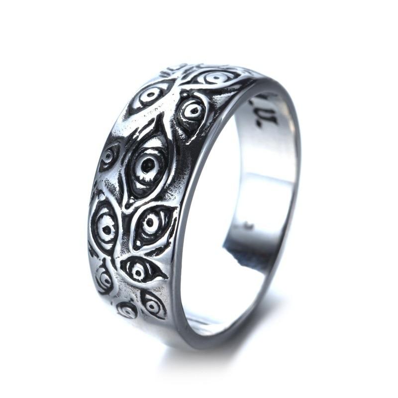 Кольцо мужское в готическом стиле, ювелирное изделие в ретро стиле с изображением монстра и глаз, тенниска в вечерние ле Панк/байкера, подхо...