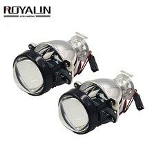 ROYALIN araba Bi Xenon Mini 1.8 Metal Lens 12V HID far projektör lambaları H4 H7 evrensel oto motosiklet ışık güçlendirme DIY