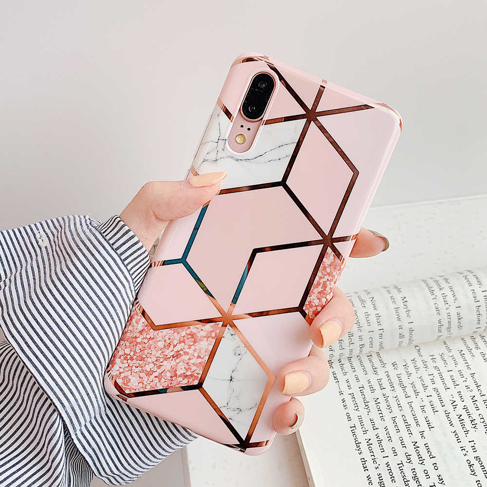LOVECOM Plating Geometric Marble Phone Case For Huawei P30 P20 Lite Pro Mate 20 Pro Lite Glossy Soft IMD Luxury Phone Back Cover
