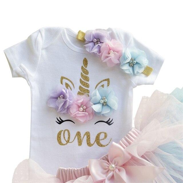 Verano 1 año niña vestido unicornio fiesta niñas Tutu vestido infantes niños ropa bebé 1er cumpleaños trajes infantil vestido