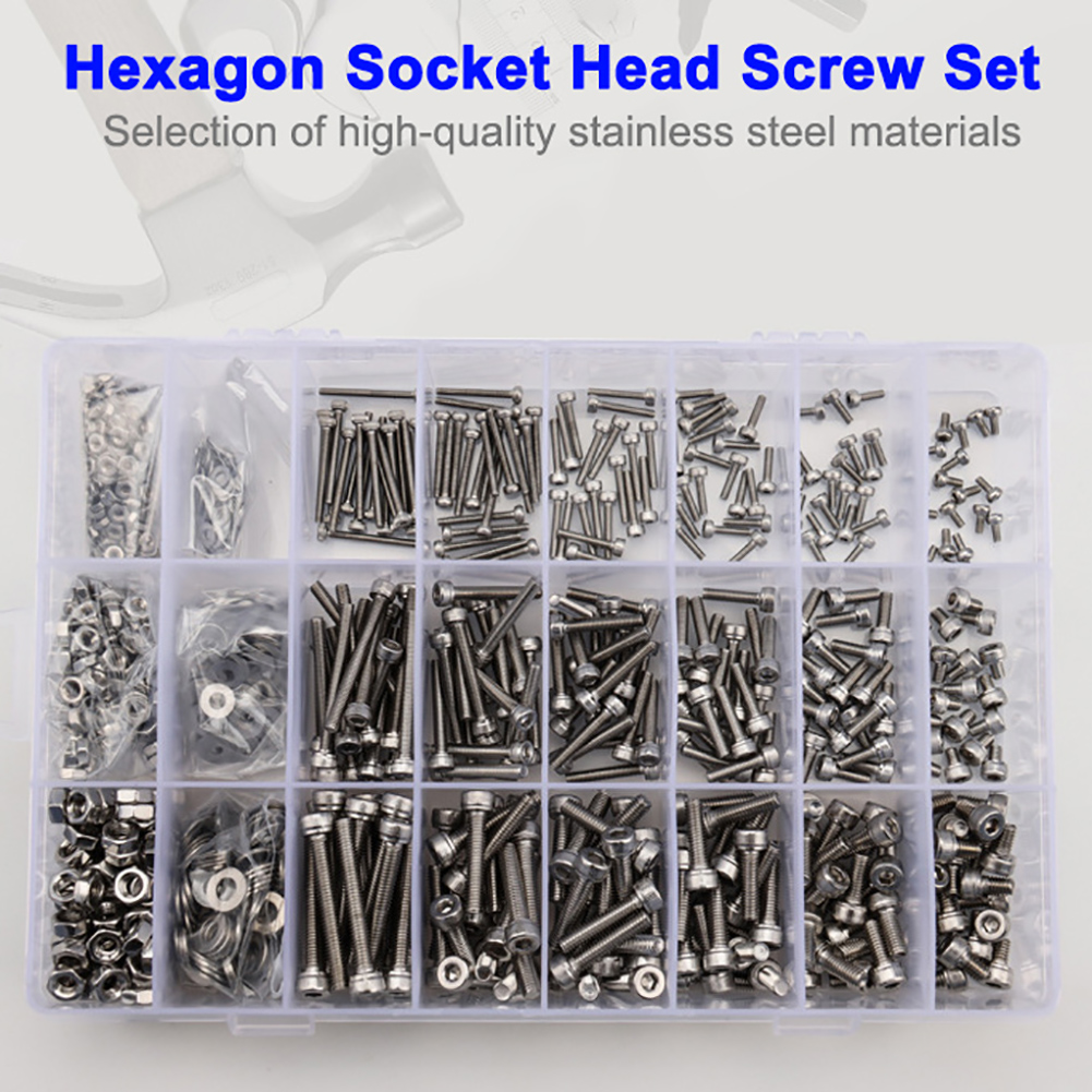 1080pcs M2 M3 M4 Hex Socket Head Cap Screw Nuts and Bolts Assortment Kit Set 304 Stainless Steel with Storage Box