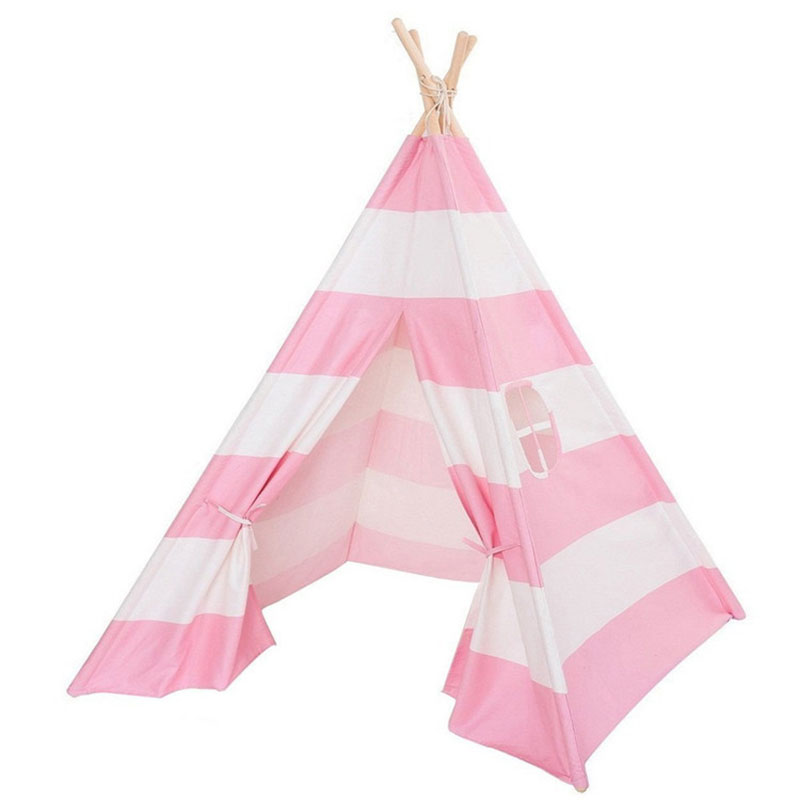 Large Unbleached Canvas Original Teepee Grey Poms Indian Play Tent House Children Tee Play House Children's Tent