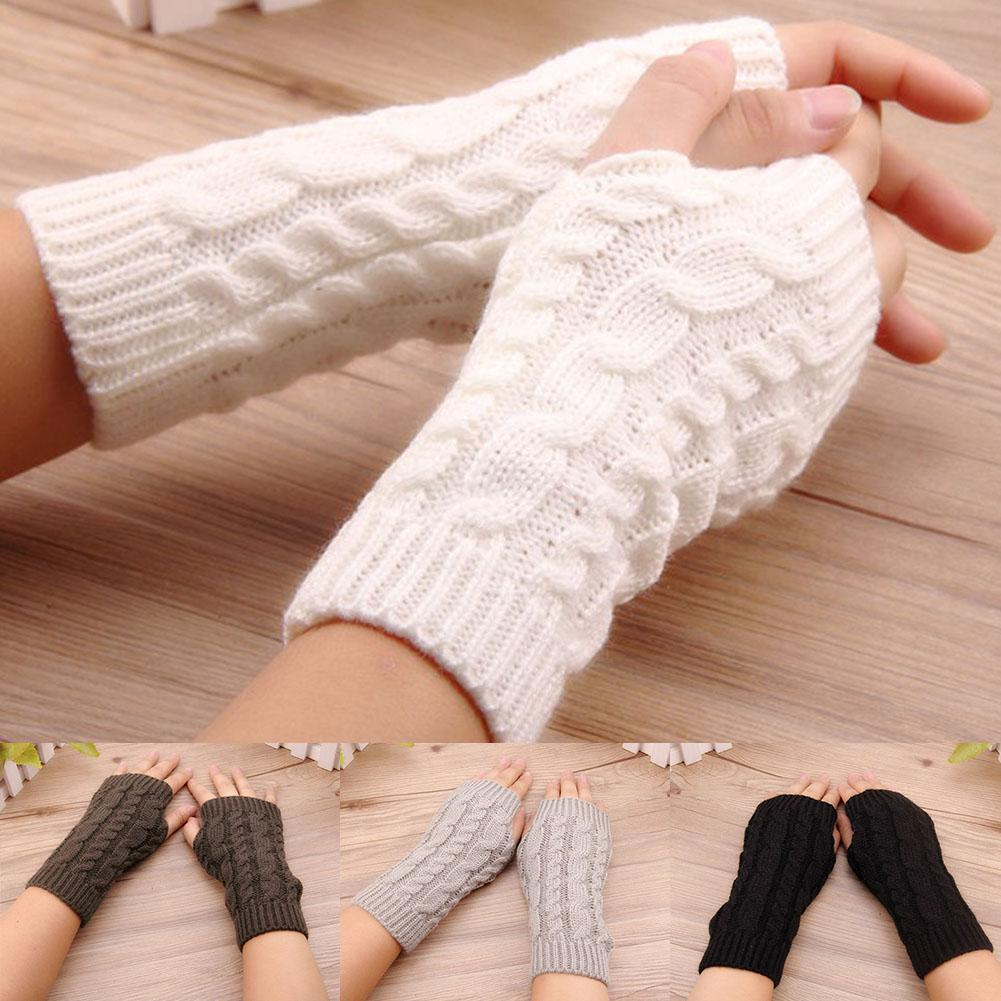 Women Winter Gloves Wrist Arm Warmer Short Solid Color Fingerless Gloves Knitted White Black Grey Mitten Gift нарукавники