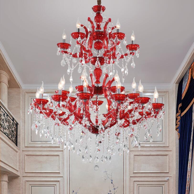 Купить красная светодиодная люстра освещение роскошный европейский