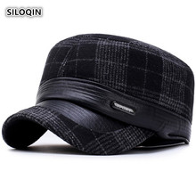 SILOQIN  Winter Mens Flat Cap Thicken Keep Warm Army Military Hats Earmuffs Hat For Men Adjustable Size Bone Caps Gorras