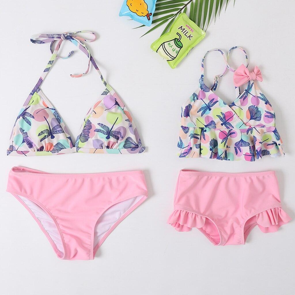 2020 New Beachwear Mum And Me Bikini Set Dot Dragonfly Print Swimsuit  Baby Girl And Women Family Match Swimwear