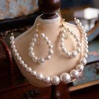 High Quality European Pearls Brides Headband with Earring Bridal Tiaras Crown Set Wedding Hair Accessory Prom Headdress