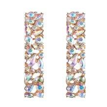 Yobest 2020 Nueva joyería de boda diseño color plata simple aros de cristal cuadrados moda mujer declaración gota pendientes joyería