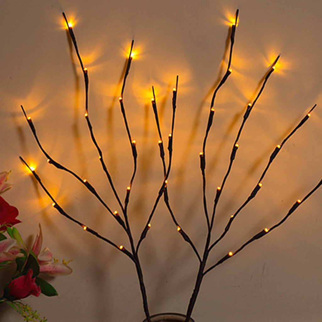 Warm LED Willow Branch Lamp Floral Lights 20 Bulbs Home Christmas Party Garden Decor Led String Lights Night Lamp J50