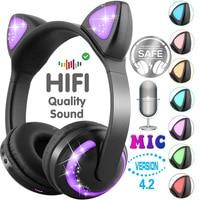 ZW 19 Bluetooth Headphones LED light Cat Ears Headset Wireless Earphone HIFI Stereo Bass headphone for Phones with microphone