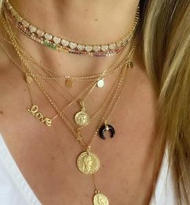 Image 3 - Hart ketting micro pave cz multi stuk heart charm link chain vriendin valentijnsdag gift mode sieraden