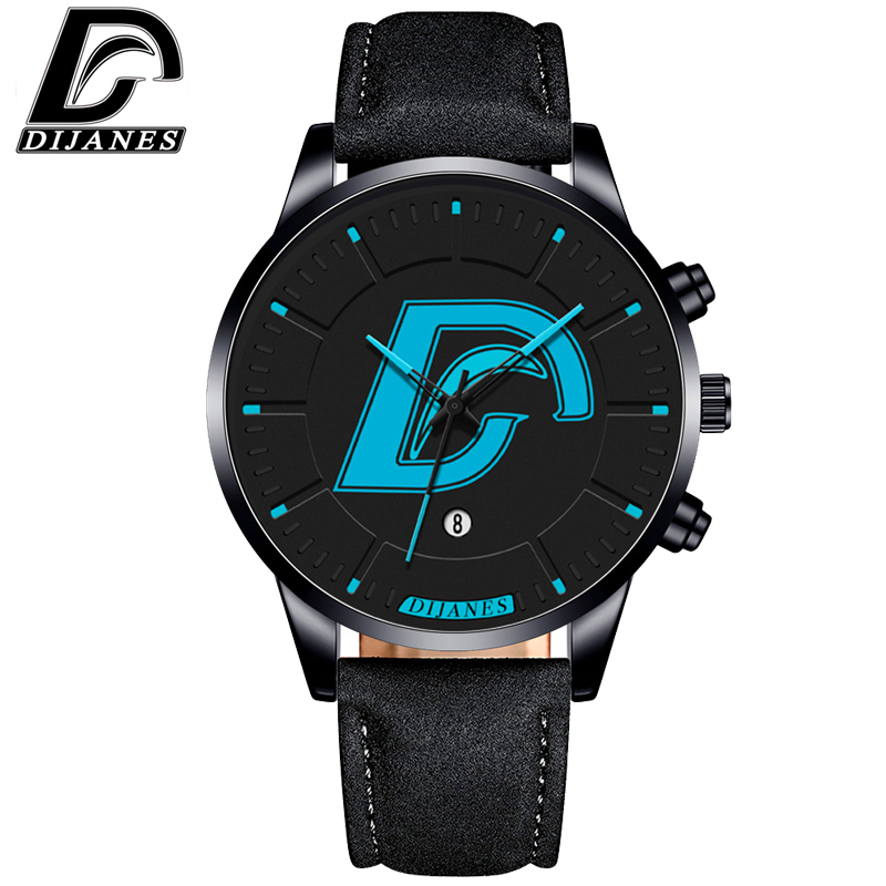 DIJANES Fashion Faux Leather Mens Analog Quartz Watches Men Military Wrist Watch Mens Watches Top Brand Luxury Casual Clock