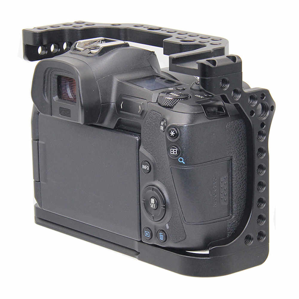 Kamera Cage untuk Canon EOS R dengan Coldshoe 3/8 1/4 Lubang Benang Arca Swiss Rilis Cepat Piring Penutup Pelindung Kamera
