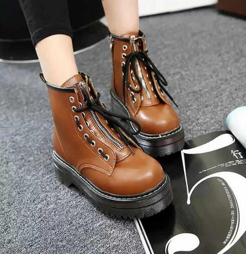 Alta Piattaforma stivali di cuoio delle donne DELL'UNITÀ di elaborazione Stivali di Pelle di inverno delle donne scarpe pattini delle donne di modo