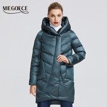 MIEGOFCE Зимняя куртка женская коллекция теплая куртка придает очаровательность и элегантность пальто зимнее подходит для всех видов фигуры двоиная защита от холода длина до колен и стоячий воротник с капюшоном