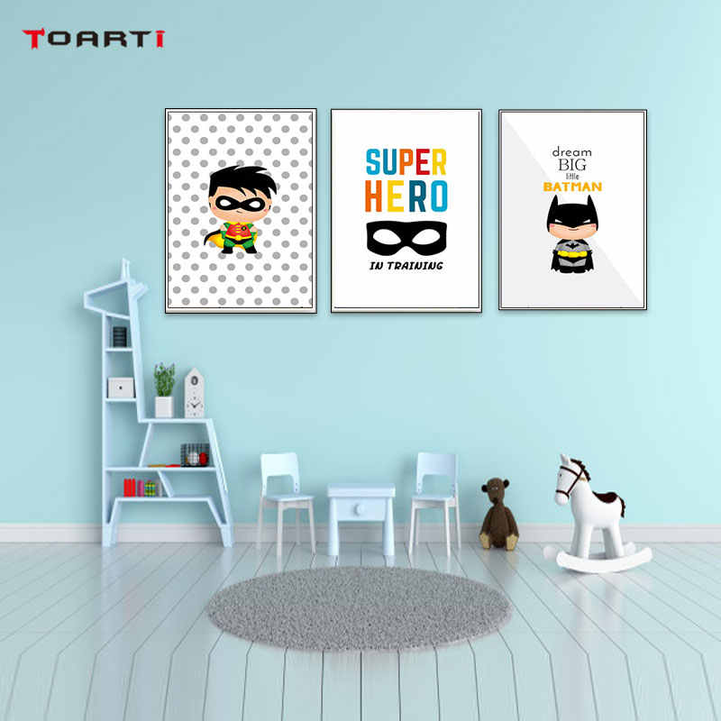Superhero Pow Kids Room Decor Dream Big Wall Art Poster&Prints Modern Canvas Painting Modular Wall Picture For Nursery Bedroom
